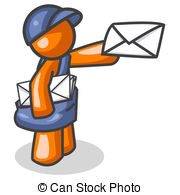 Orange courrier homme deliverer clip art csp2778072